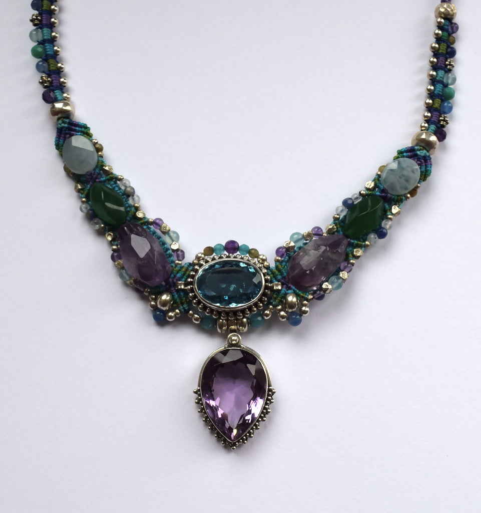 Isha Elafi Kris Necklace in Purple & Green with Amethyst & Blue Topaz