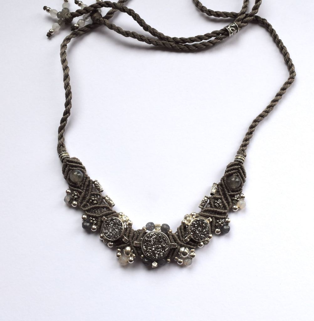 Isha Elafi Small Choker in Grey with Grey Druzy