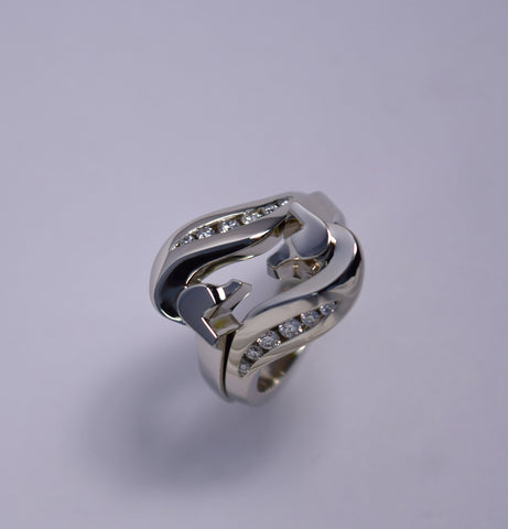 The Mini Classic© By-Pass Ring with Channel Set Diamonds