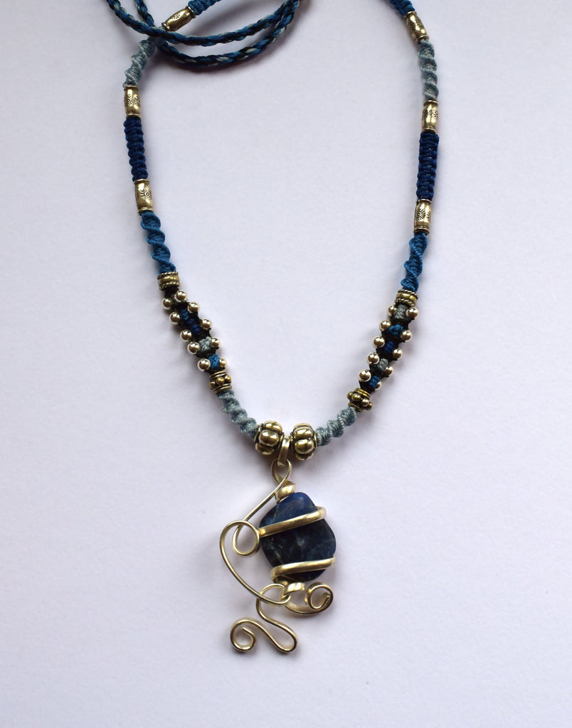 Isha Elafi Joy Necklace in Blues with Sodalite Drop