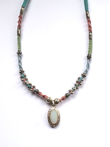 Isha Elafi Joy Necklace in Blue, Pink, Green & Teal with an Opal Drop