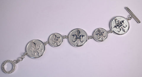 Pegasus Fleur de Lis Medallion Bracelet with Toggle