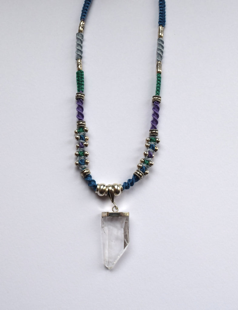 Isha Elafi Joy Necklace in Purple, Blue & Teal with a Crystal Stone