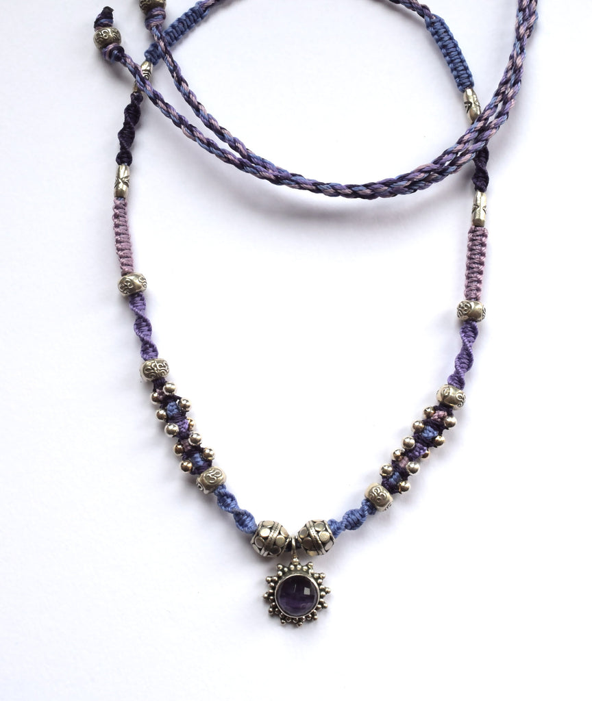 Isha Elafi Joy Necklace in Purple with an Amethyst Drop