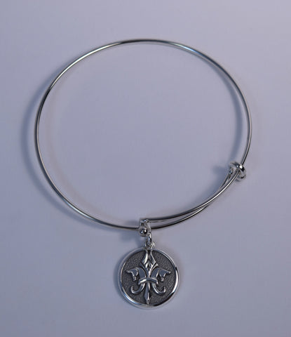 Pegasus Fleur de Lis© Charm on Steel Bangle