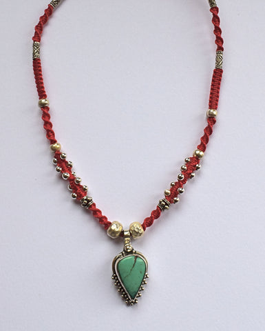 Isha Elafi Joy Necklace in Red with a Turquoise Drop
