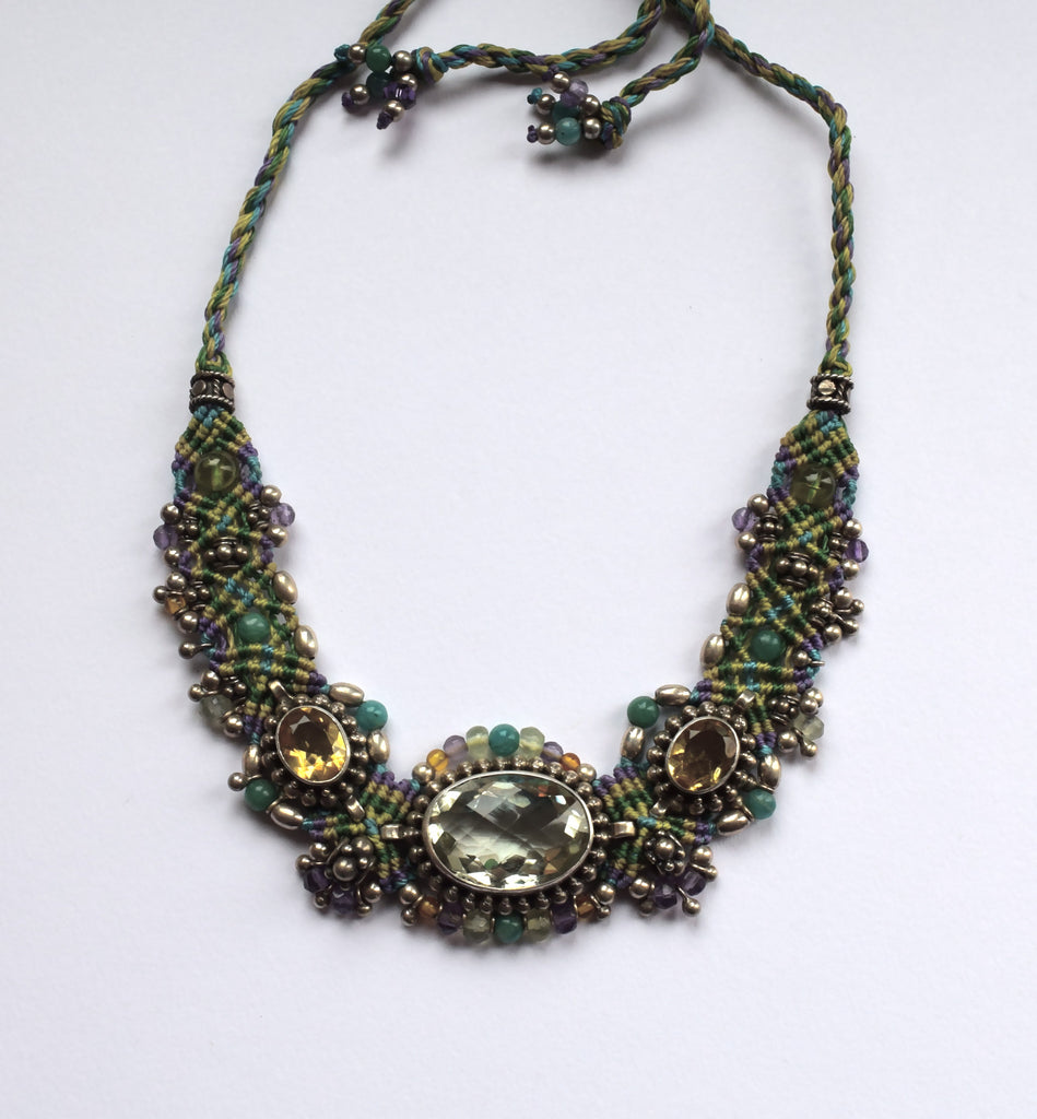 Isha Elafi Big Choker in Green & Purple with Citrine stones
