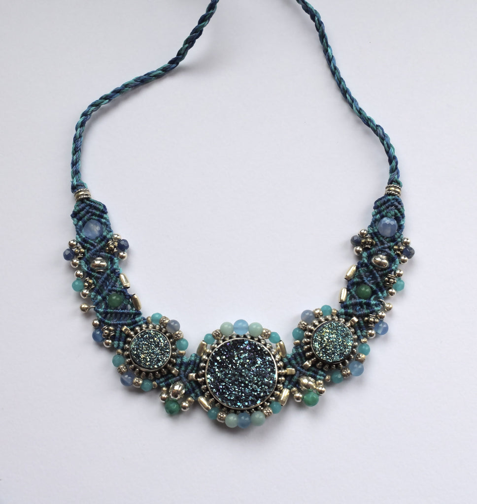 Isha Elafi Big Choker in Blue with a Blue druzy