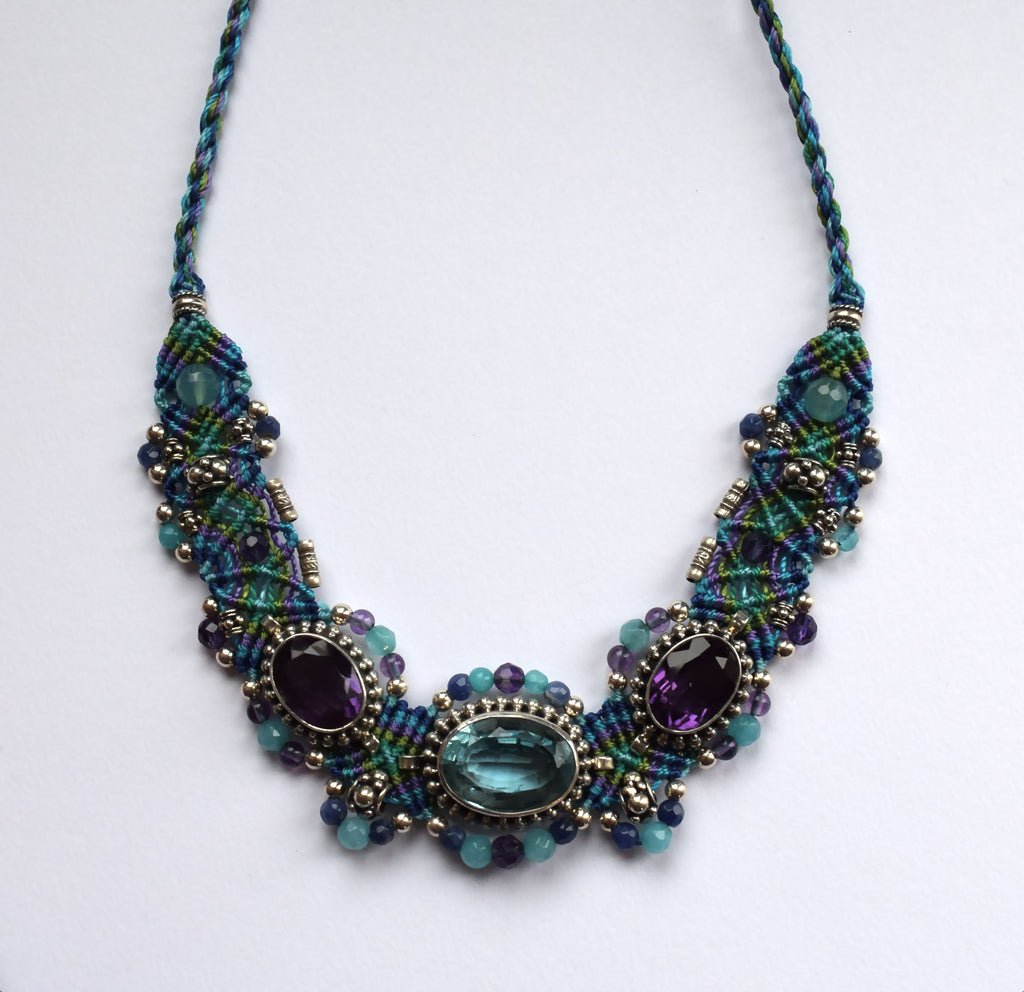Isha Elafi Big Choker in Blue & Purple with Amethyst & Blue Topaz