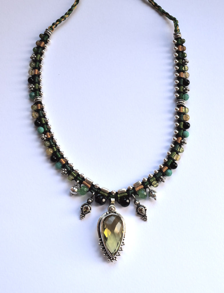 Isha Elafi Isha Snake Necklace Green & Gold with Citrine Stone
