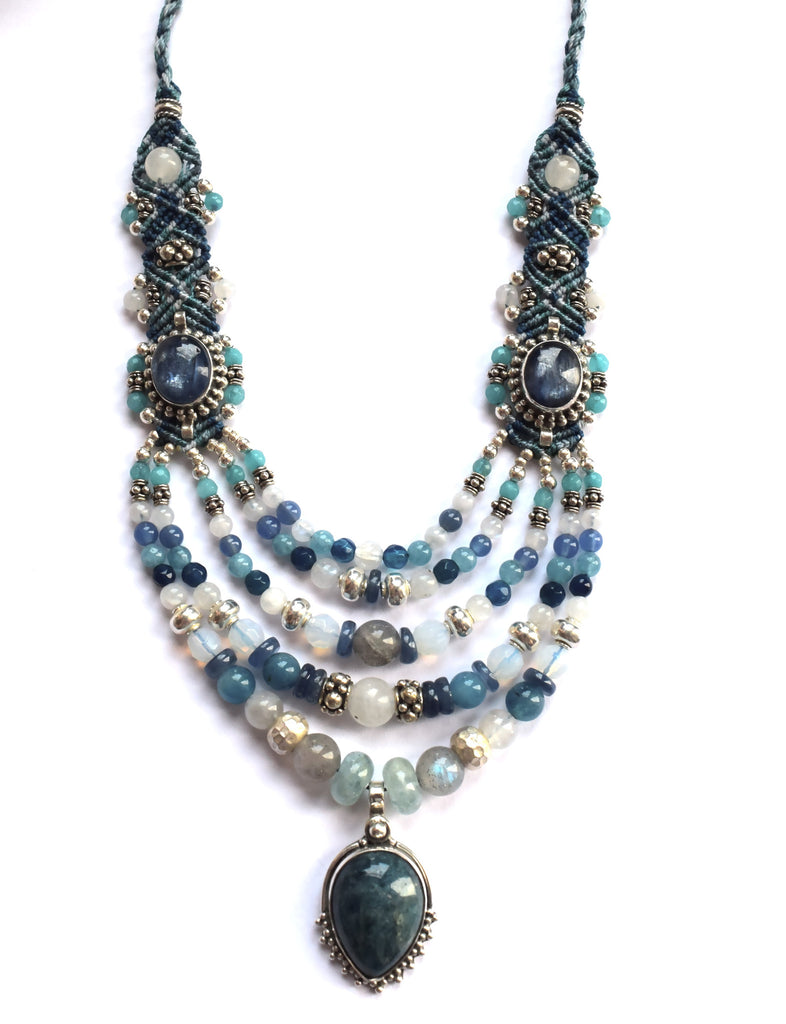 Isha Elafi Multi Strand Necklace in Blue & White with Sapphire Stone