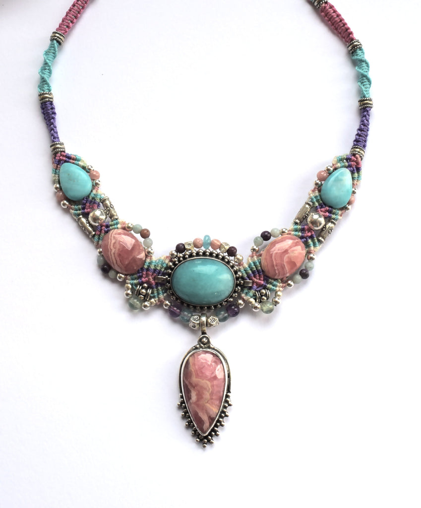 Isha Elafi Kris Necklace in Pink & Blu with Amazonite Stone