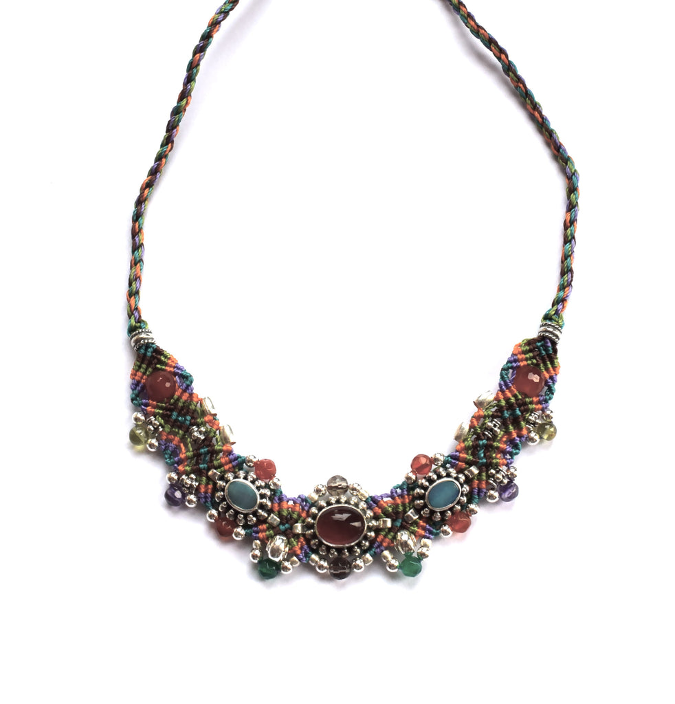 Isha Elafi Small Choker in Orange, Blue, Green & Purple with Carnelian & Opal Stones
