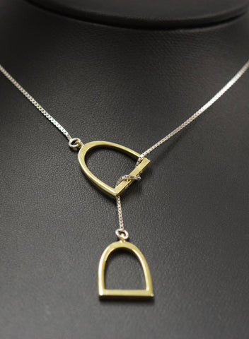 "The ""Annmarie"" Lariat In Stainless Steel with 14kt Plated Yellow Gold Stirrups."