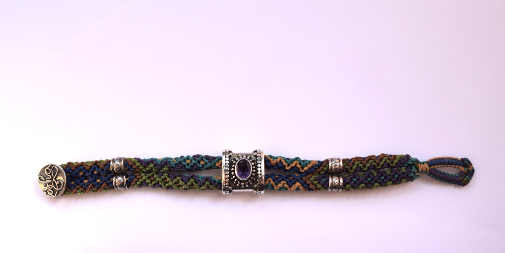 Isha Elafi Double Rope with Amethyst Stone Bracelet in Blue, Purple & Gold