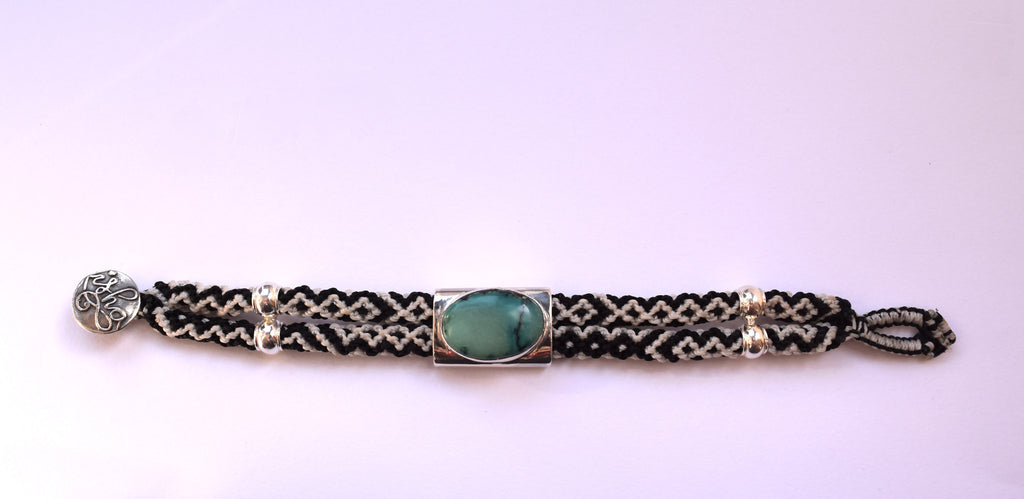 Isha Elafi Double Rope with Green Stone Bracelet in Black & White