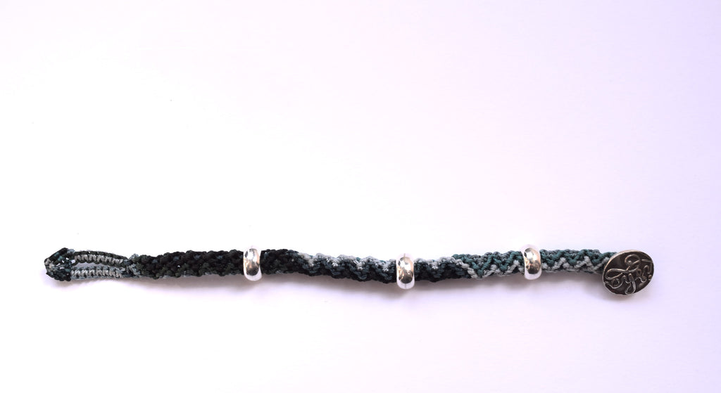 Isha Elafi Rope Bracelet in Teal, Black & White