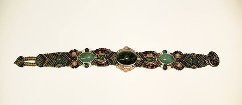 Isha Elafi Olop Bracelet Green,Brown With Green Center Stone.