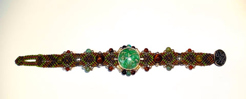 Isha Elafi Simple Bracelet With Brown,Green and Tigers Eye.