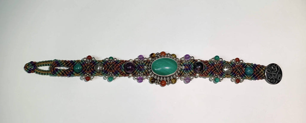Isha Elafi Simple Bracelet With Green,Purple,Tan and Malachite