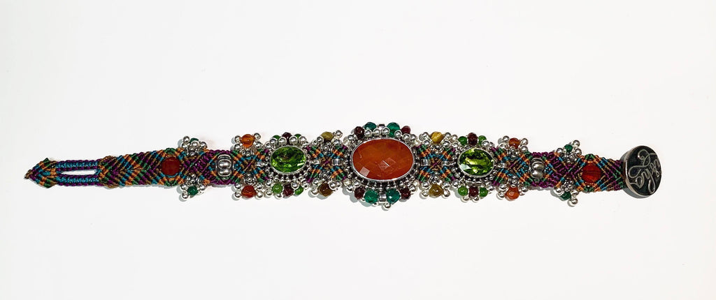 Isha Elafi Silver Drop Bracelet Green, Orange, Purple With Carnelian and Peridot