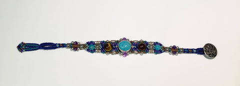 Isha Elafi Gio Bracelet Blue,Purple,Brown With turquoise and Tigers Eye