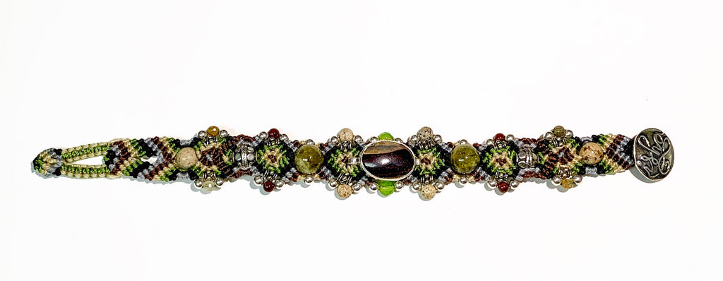 Isha Elafi Simple Bracelet Green,Brown,Beige With Opal