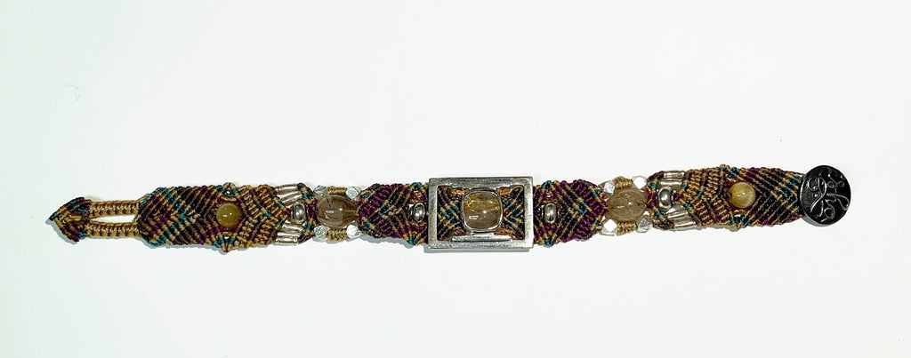 Isha Elafi Simple Bracelet Brown,Blue,Purple With A Rhodolite Quartz