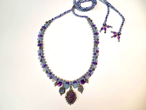 Isha Elafi Snake Necklace Blue,Purple With a Amethyst and Opals
