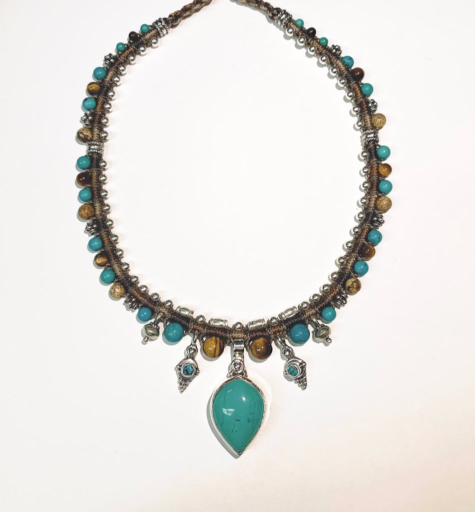 Isha Elafi Snake Necklace Brown,Turquoise With Tigers Eye
