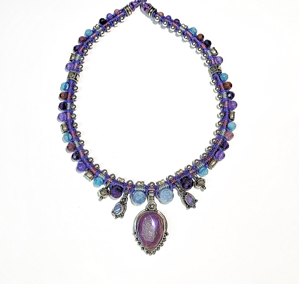 Isha Elafi Snake Necklace Purple,Blue With Opals, Amethyst and Druzy