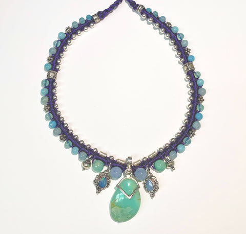 Isha Elafi Snake Necklace Blue,Purple With Opals and Chrysoprase