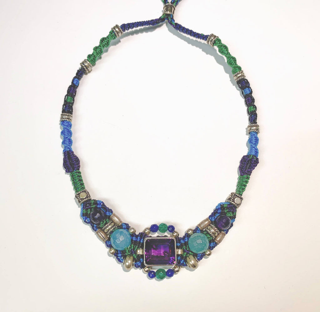 Isha Elafi Gio Necklace Blue,Purple With Amethyst.
