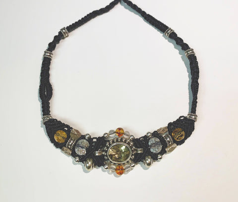 Isha Elafi Gio Necklace Black With Citrine Rocks and Amber