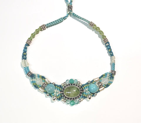 Isha Elafi Gio Necklace Light Green,Teal,White With Larimar and Green Quartz