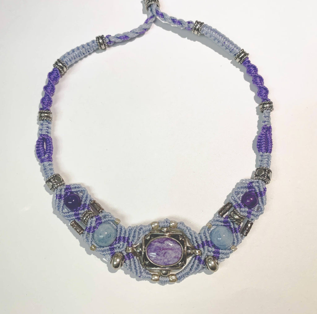 Isha Elafi Gio Necklace Blue,Purple With Sugilite and Larimar