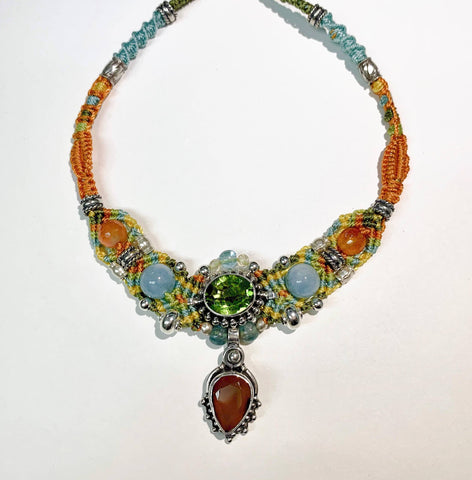 Isha Elafi New Gio Necklace Orange,Green,Blue with Peridot, Citrine and Carnelian