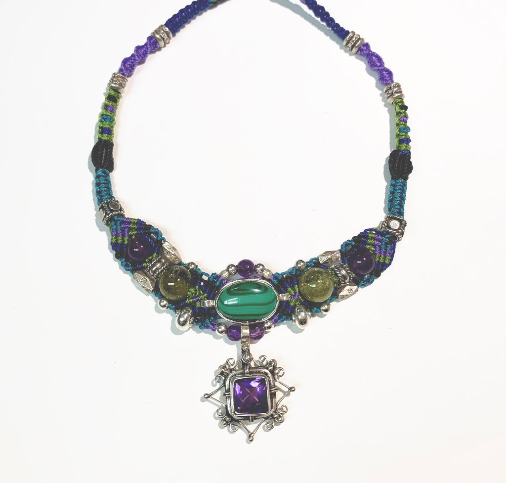 Isha Elafi New Gio Necklace Purple,Green With Amethyst and Malachite