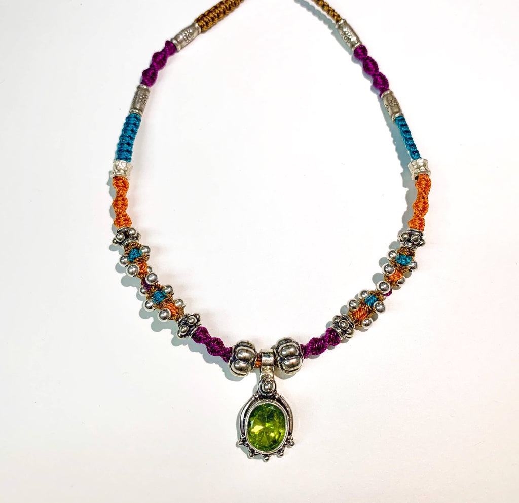 Isha Elafi Jay Necklace Orange,Teal,Purple With a Peridot