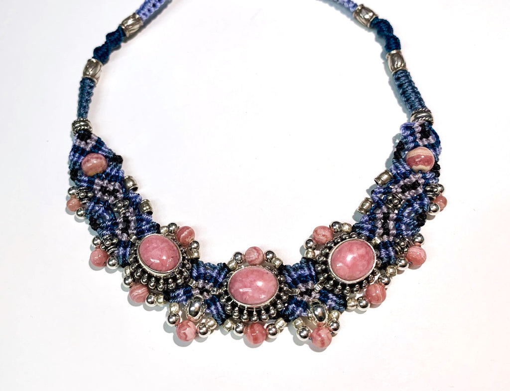 Isha Elafi Simple Chocker Blue With Rhodochrosite