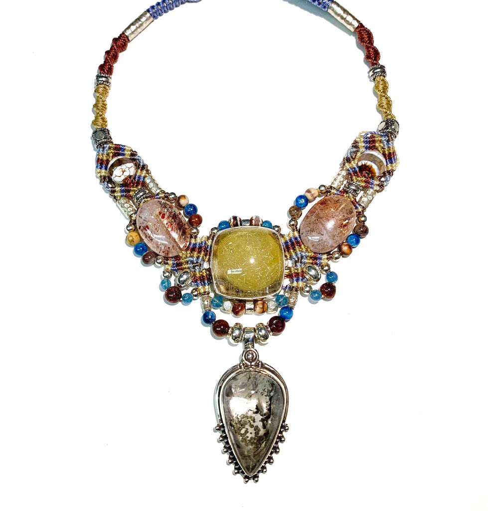 Isha Elafi Big Gio Necklace Beige,Blue,Tan With Rhodolite Quartz