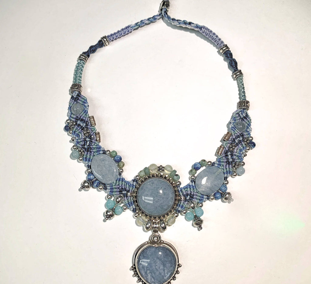 Isha Elafi New Chocker Shades of Blue With Angelite