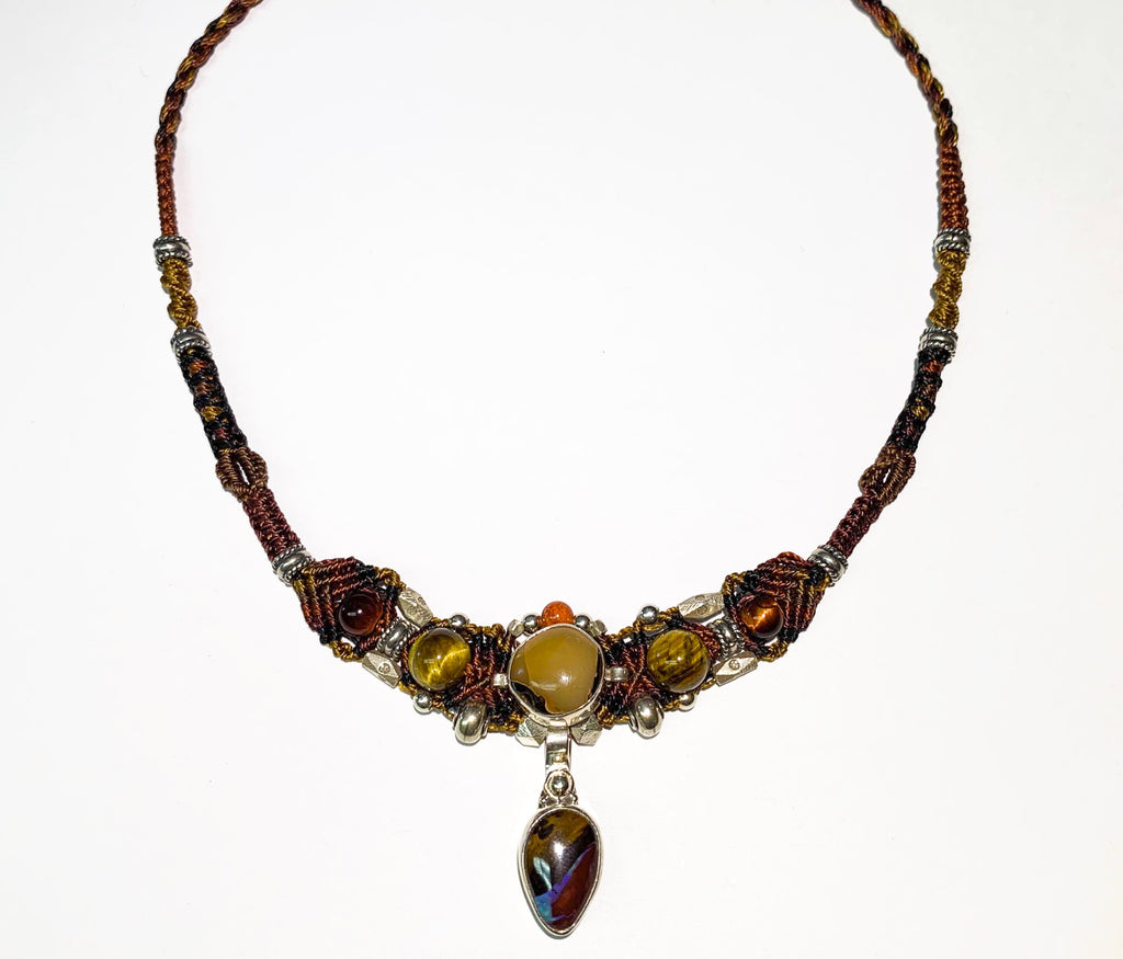 Isha Elafi New Gio Necklace Brown,Tan With Opal and Tigers Eye