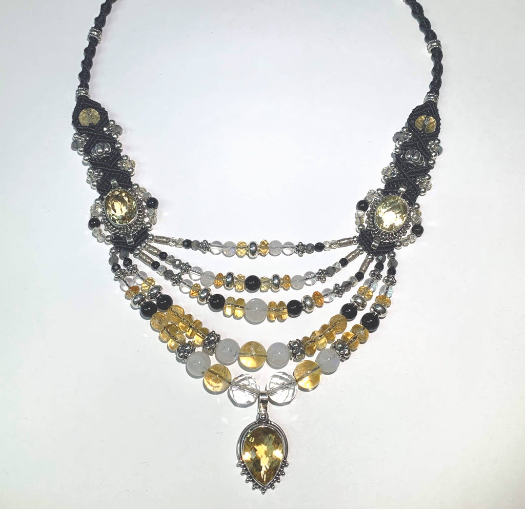 Isha Elafi Multi Strand Black,White,Citrine, Rock Crystal and Moonstone