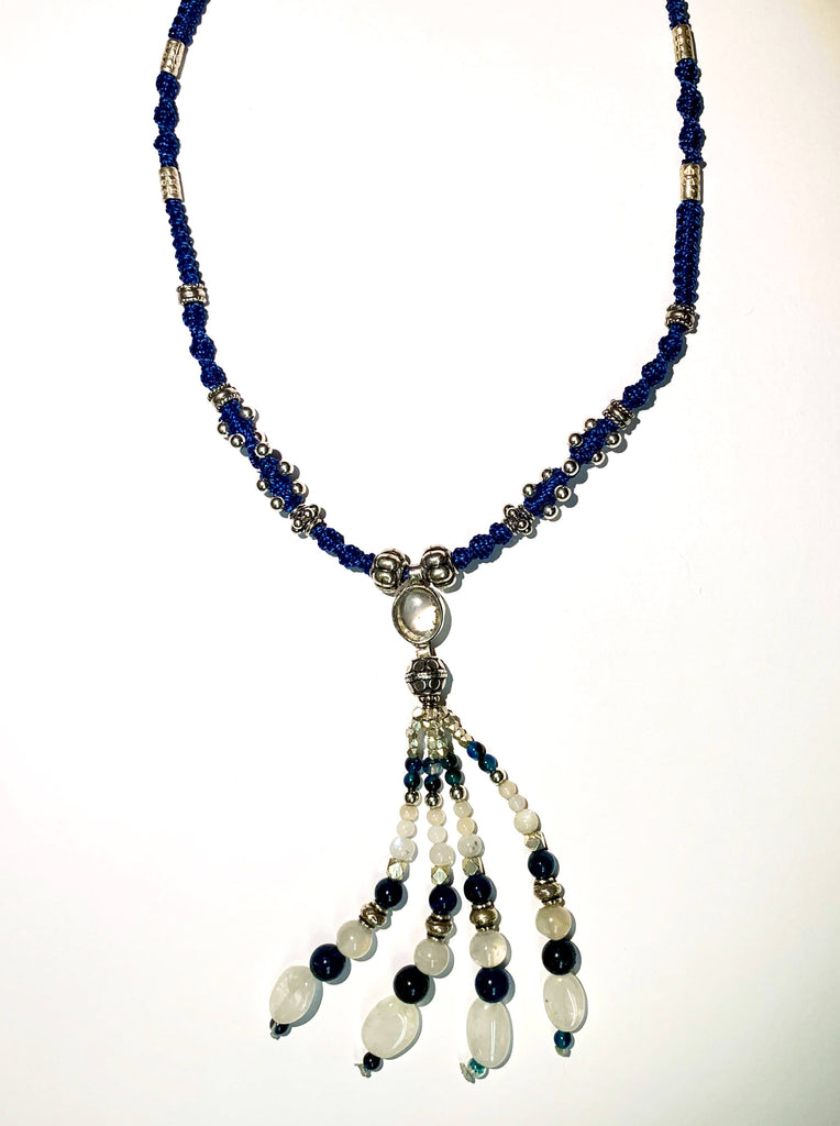 Isha Elafi Jay Tassel Necklace Blue,White With Moonstone