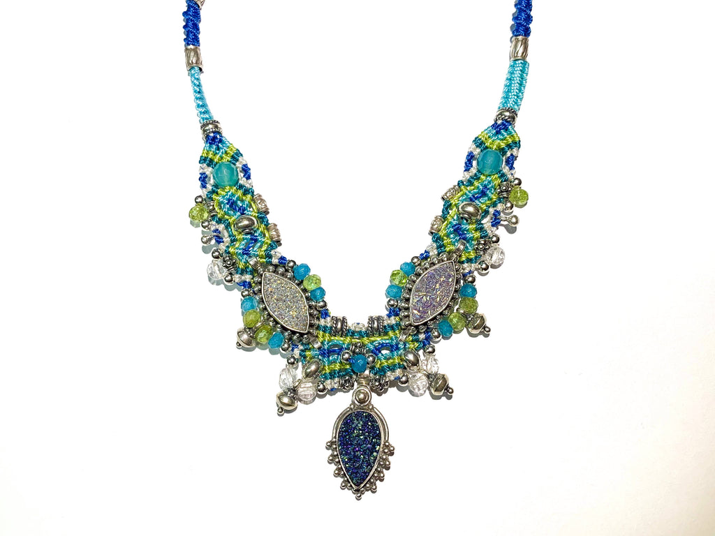 Isha Elafi Chocker Blue,Green With a Blue Druzy