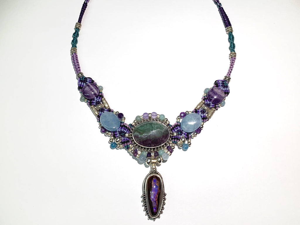 Isha Elafi Big Gio Necklace Purple, Teal and Black With Fluorite , Opal and Amethyst