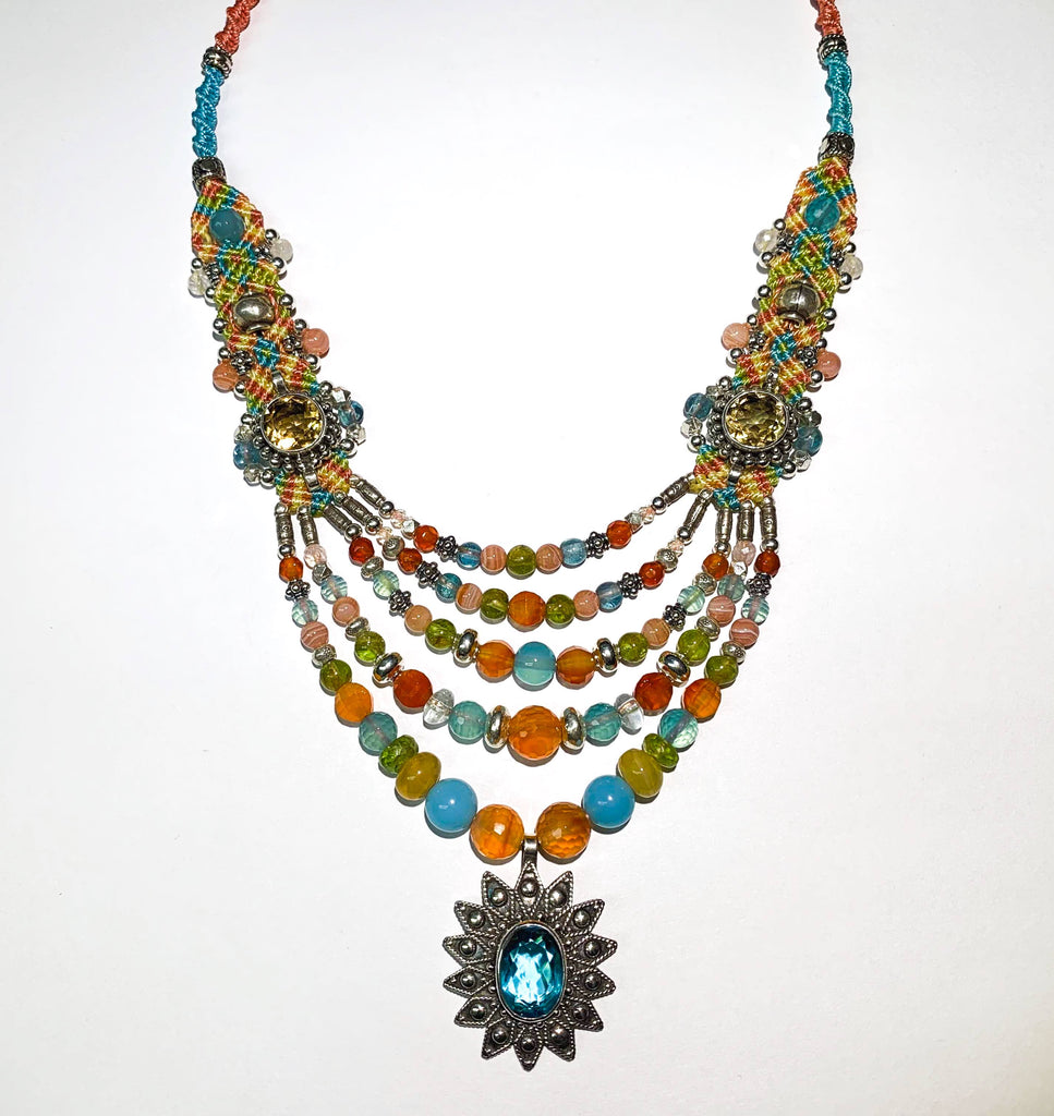 Isha Elafi Multi Blue,Orange,Green With Blue Topaz, Citrine, Carnelian, Rhodochrosite and Peridot