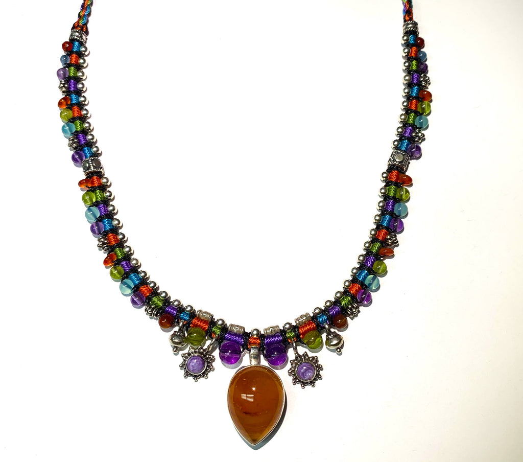 Isha Elafi Snake Necklace Orange,Purple,Red,Blue With Sugilite and Carnelian