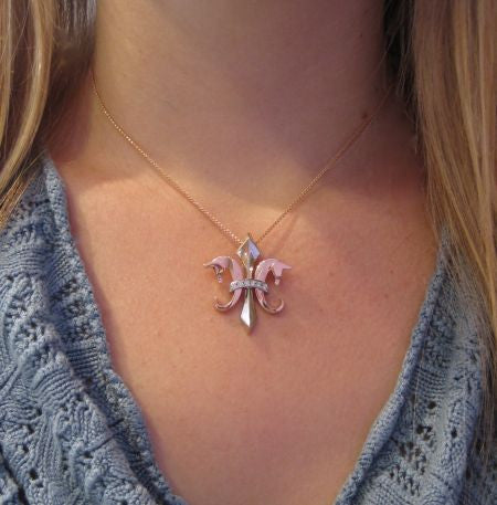 The Fleur de Lis© in 14K White and Rose Gold and diamonds Pendant